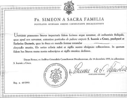 Certificate That Comes With Relics Saints Alive Relic Apostolate